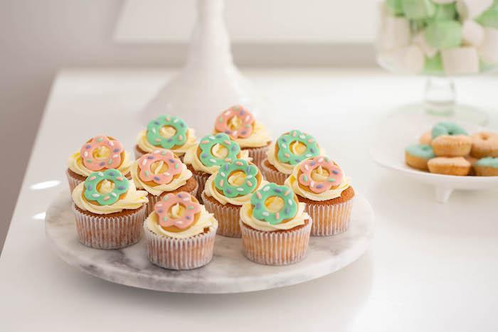Donut-inspired Cupcakes from a DIY Peach & Mint Donut Party on Kara's Party Ideas | KarasPartyIdeas.com