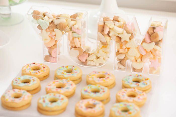 Donut cookies from a DIY Peach & Mint Donut Party on Kara's Party Ideas | KarasPartyIdeas.com