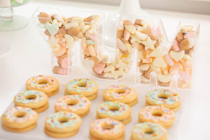 Donut cookies from a DIY Peach & Mint Donut Party on Kara's Party Ideas | KarasPartyIdeas.com