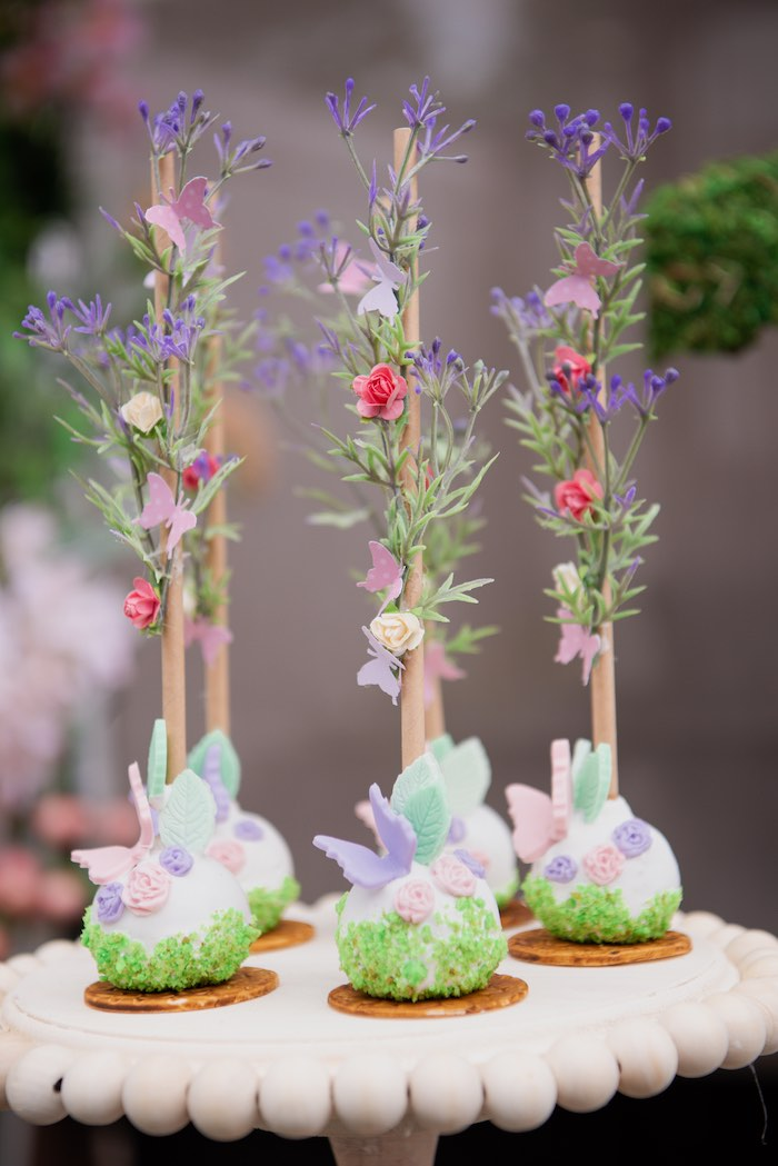 Enchanted Garden Cake Pops from a Fairy Garden Birthday Party on Kara's Party Ideas | KarasPartyIdeas.com (14)