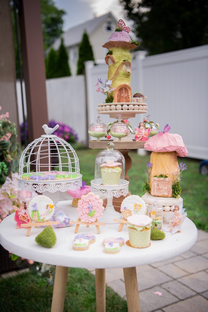 Fairy Cake Table from a Fairy Garden Birthday Party on Kara's Party Ideas | KarasPartyIdeas.com (7)