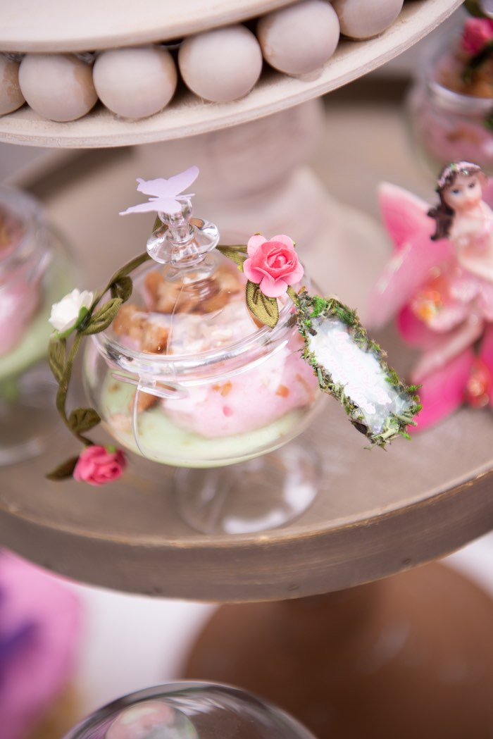 Enchanted Garden Dessert Cup from a Fairy Garden Birthday Party on Kara's Party Ideas | KarasPartyIdeas.com (23)