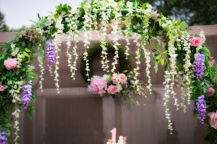 Floral Arch from a Fairy Garden Birthday Party on Kara's Party Ideas | KarasPartyIdeas.com (4)