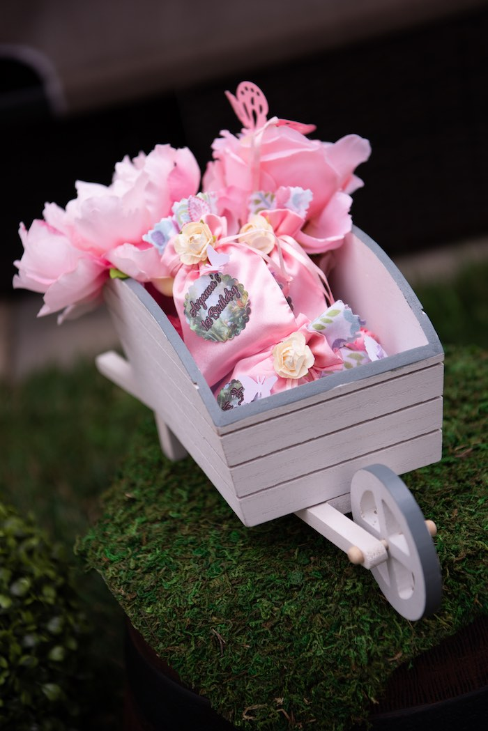 Wheelbarrow Favors from a Fairy Garden Birthday Party on Kara's Party Ideas | KarasPartyIdeas.com (15)
