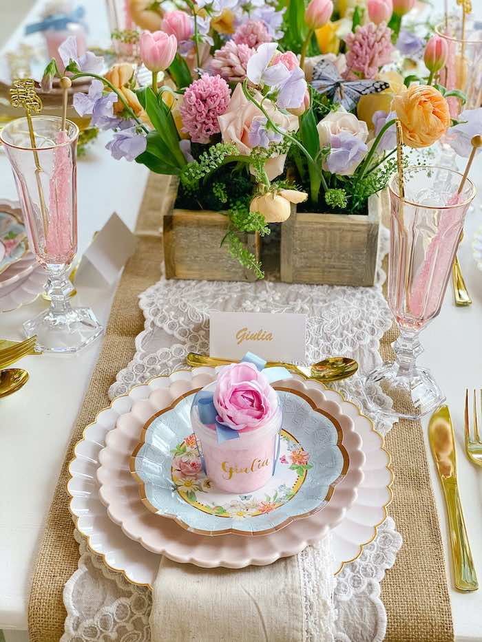 Fancy Floral Table Setting from a Fancy Flower Garden Birthday Party on Kara's Party Ideas | KarasPartyIdeas.com (21)