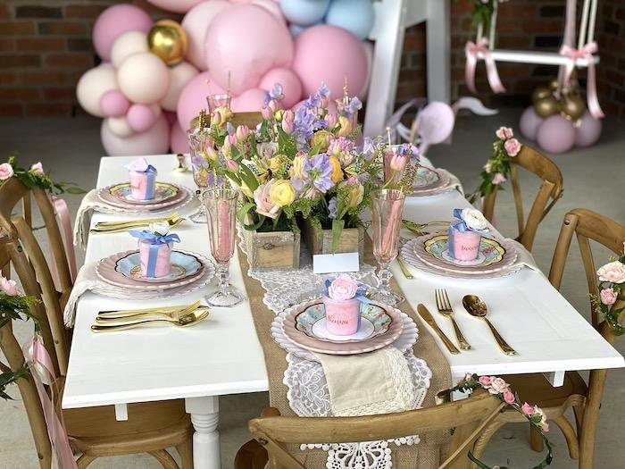 Floral Themed Kid Table from a Fancy Flower Garden Birthday Party on Kara's Party Ideas | KarasPartyIdeas.com (20)