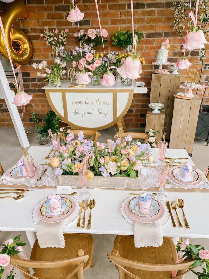 Floral Themed Kid Table from a Fancy Flower Garden Birthday Party on Kara's Party Ideas | KarasPartyIdeas.com (18)
