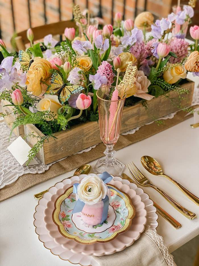 Floral Glam Table Setting from a Fancy Flower Garden Birthday Party on Kara's Party Ideas | KarasPartyIdeas.com (17)
