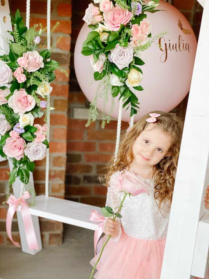 Floral-adorned Swing from a Fancy Flower Garden Birthday Party on Kara's Party Ideas | KarasPartyIdeas.com (15)