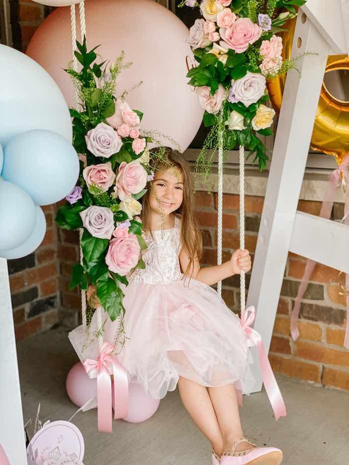 Floral Swing from a Fancy Flower Garden Birthday Party on Kara's Party Ideas | KarasPartyIdeas.com (12)