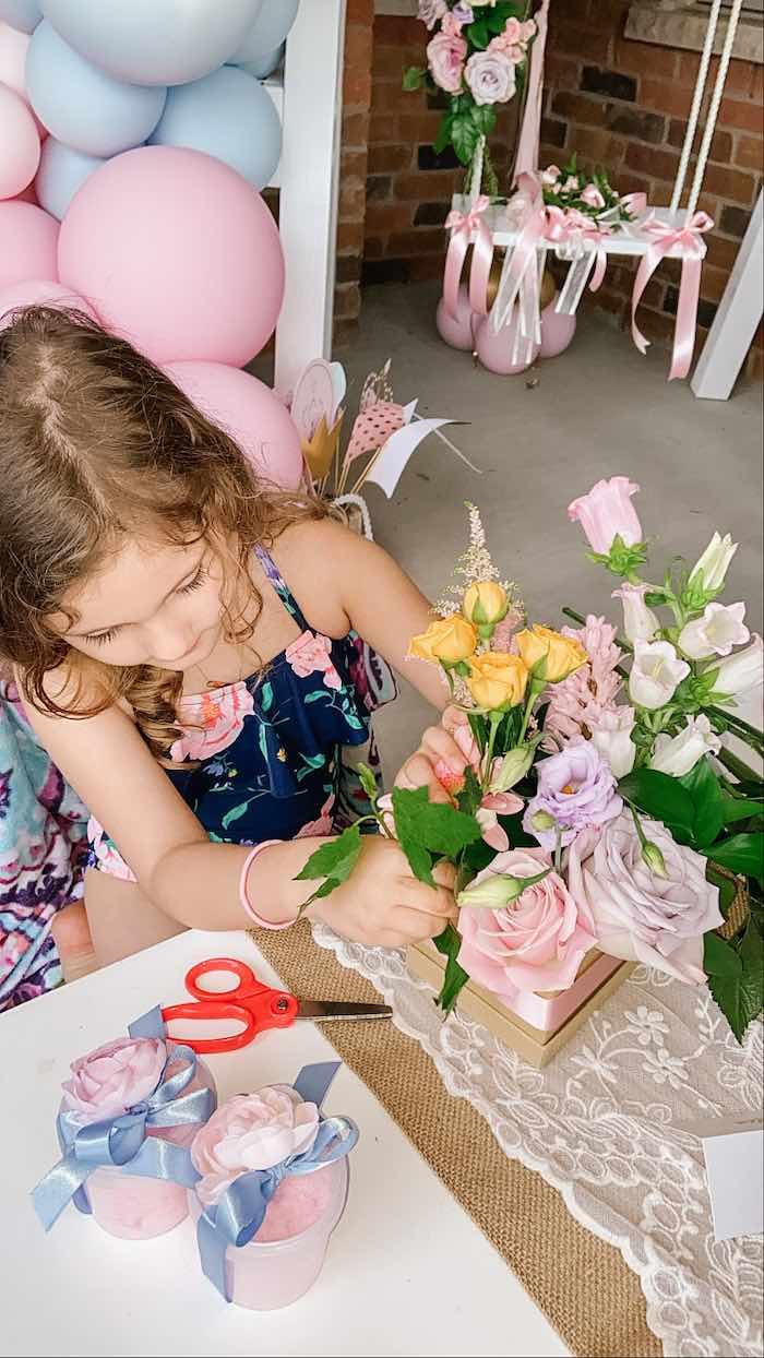 Floral Arrangement Crafting from a Fancy Flower Garden Birthday Party on Kara's Party Ideas | KarasPartyIdeas.com (8)