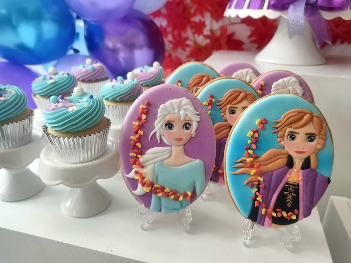 Frozen 2-inspired Anna & Elsa Cookies + Cupcakes from a Frozen 2 Birthday Party on Kara's Party Ideas | KarasPartyIdeas.com (18)
