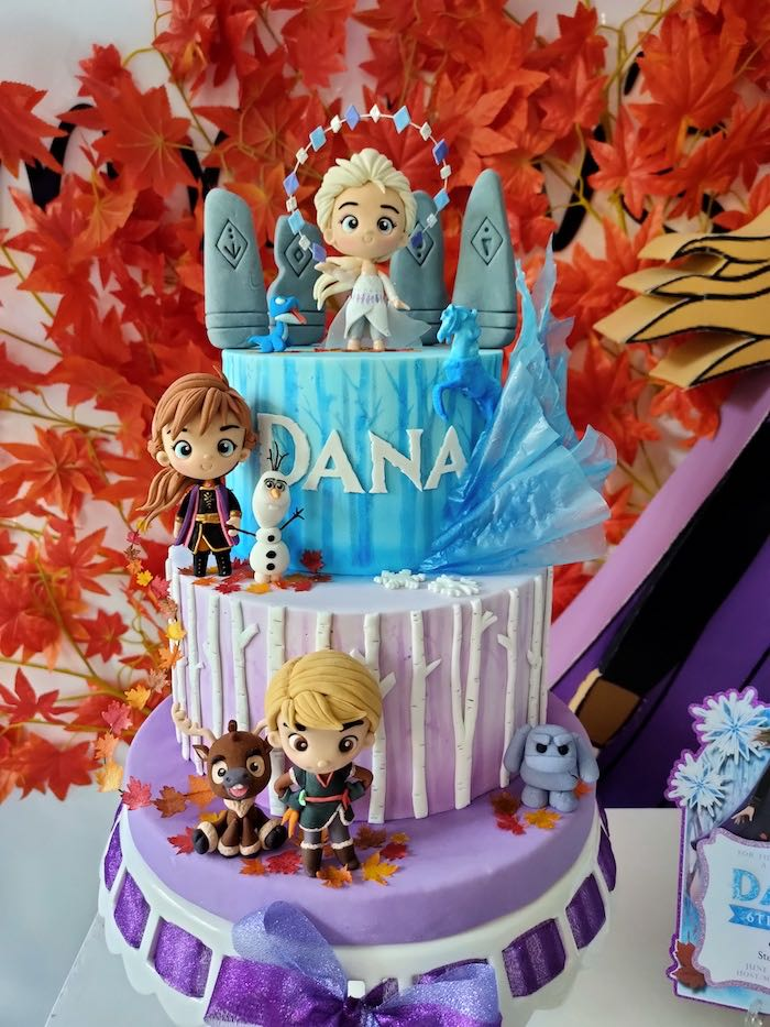 Frozen 2 Birthday Cake from a Frozen 2 Birthday Party on Kara's Party Ideas | KarasPartyIdeas.com (10)