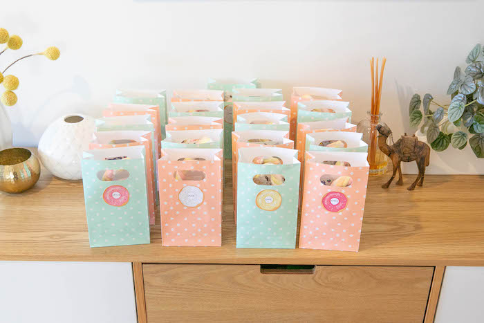 Goodie Bags from a DIY Peach & Mint Donut Party on Kara's Party Ideas | KarasPartyIdeas.com