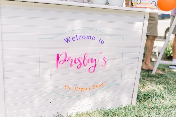 Ice Cream Cart Welcome Sign from an Ice Cream Unsocial on Kara's Party Ideas | KarasPartyIdeas.com