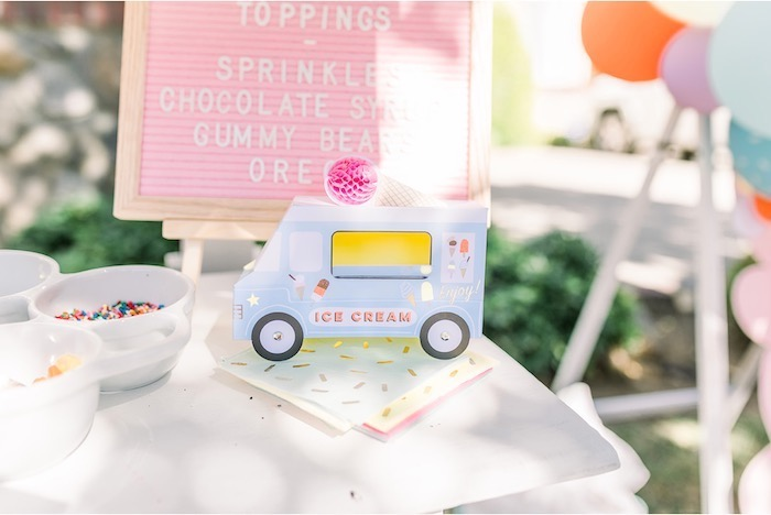 Ice Cream Truck Box & Sprinkle Napkins from an Ice Cream Unsocial on Kara's Party Ideas | KarasPartyIdeas.com