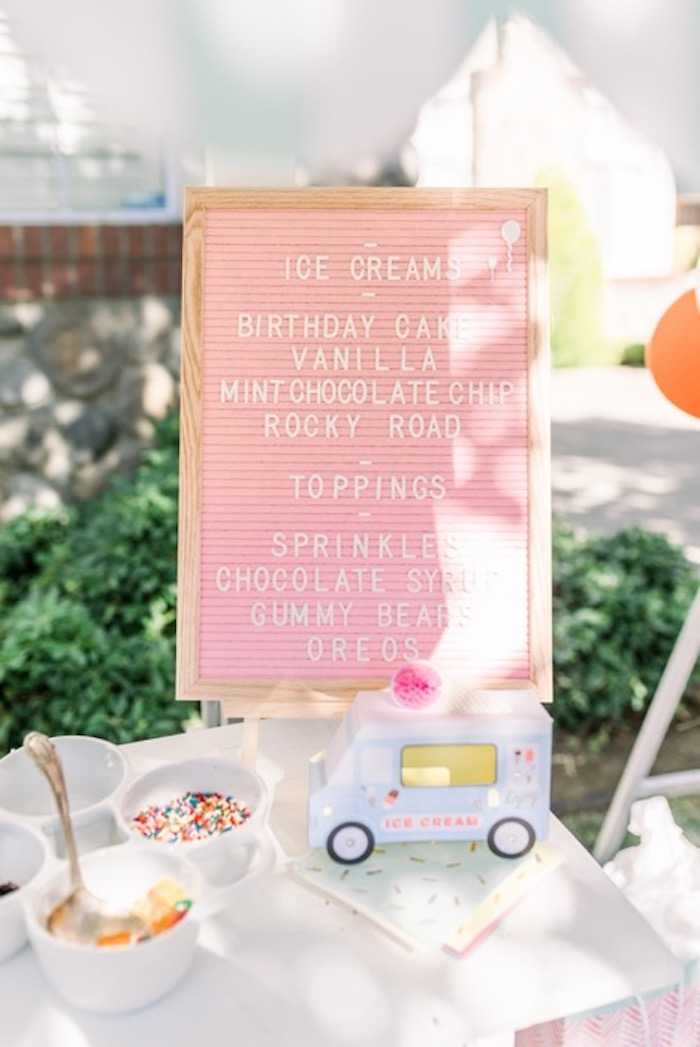 Pink Letter Board Menu from an Ice Cream Unsocial on Kara's Party Ideas | KarasPartyIdeas.com
