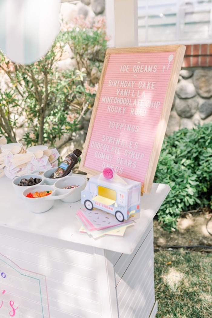 Ice Cream Cart from an Ice Cream Unsocial via Kara's Party Ideas | KarasPartyIdeas.com