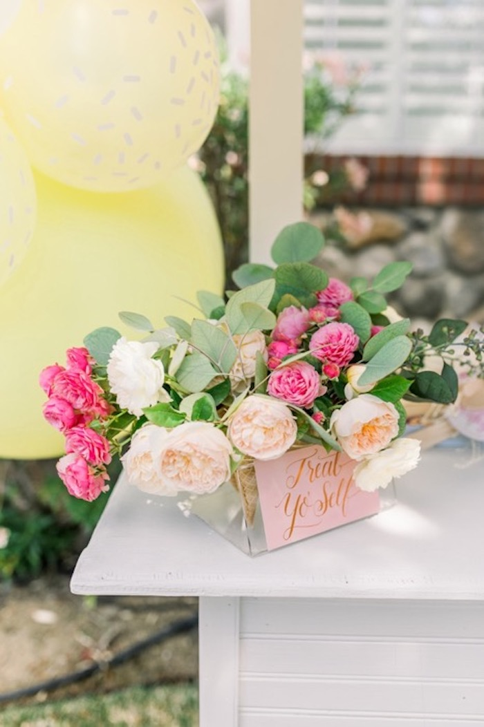 Treat Yourself Floral Arrangement from an Ice Cream Unsocial on Kara's Party Ideas | KarasPartyIdeas.com