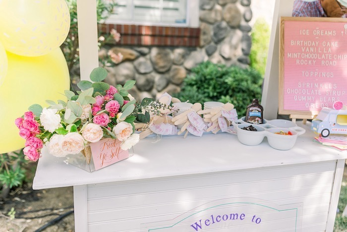 Ice Cream Stand from an Ice Cream Unsocial on Kara's Party Ideas | KarasPartyIdeas.com