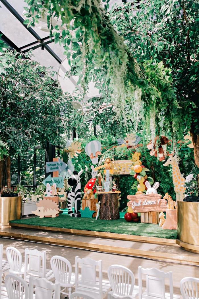 Jungle Stage from a Jungle Animal Birthday Party on Kara's Party Ideas | KarasPartyIdeas.com (10)