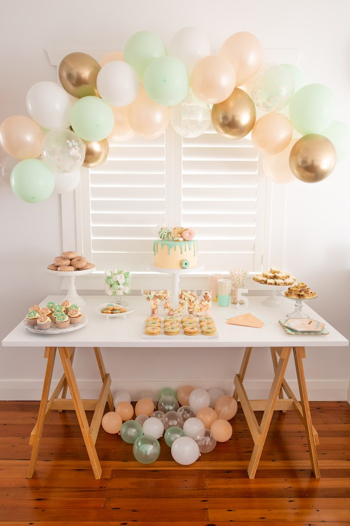 DIY Peach & Mint Donut Party on Kara's Party Ideas | KarasPartyIdeas.com