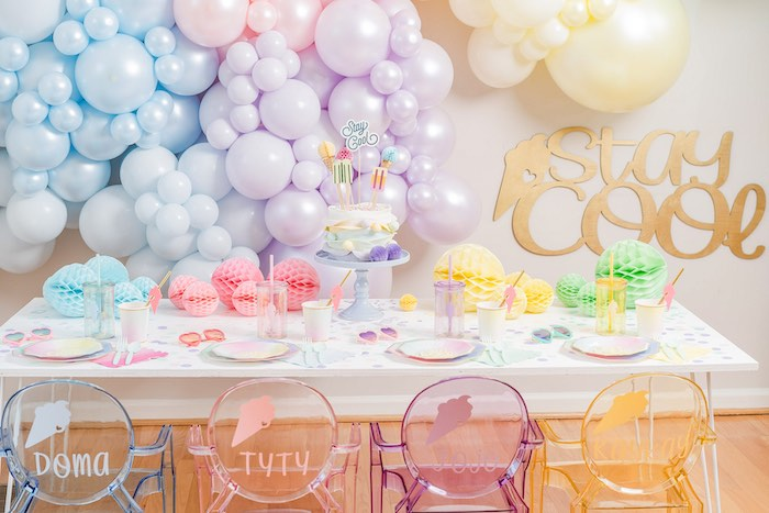 Ice Cream Themed Party Table from a Pastel Ice Cream Party on Kara's Party Ideas | KarasPartyIdeas.com (32)