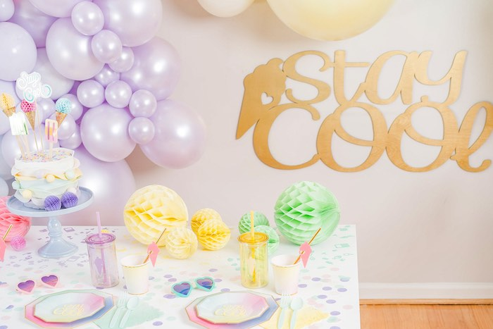 Stay Cool Ice Cream Themed Party Table from a Pastel Ice Cream Party on Kara's Party Ideas | KarasPartyIdeas.com (29)