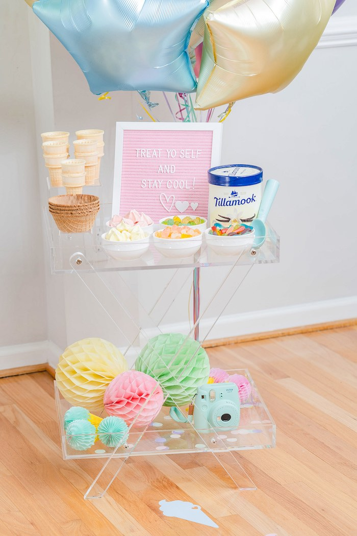 Ice Cream Cart from a Pastel Ice Cream Party on Kara's Party Ideas | KarasPartyIdeas.com (27)