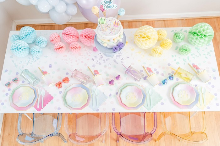 Ice Cream Themed Party Table from a Pastel Ice Cream Party on Kara's Party Ideas | KarasPartyIdeas.com (22)