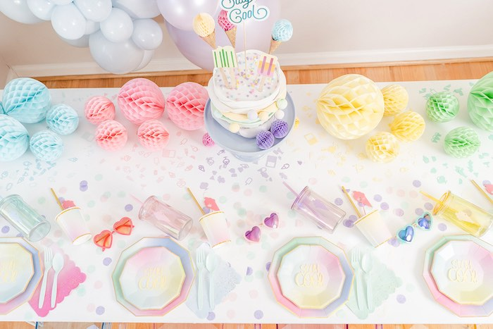 Ice Cream Themed Party Table from a Pastel Ice Cream Party on Kara's Party Ideas | KarasPartyIdeas.com (21)