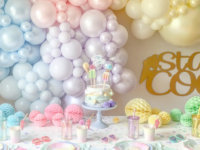 Ice Cream Themed Party Table from a Pastel Ice Cream Party on Kara's Party Ideas | KarasPartyIdeas.com (16)