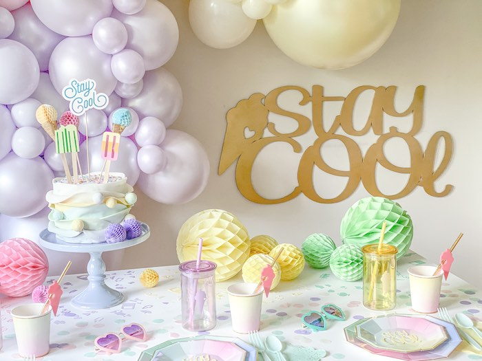 Ice Cream Themed Guest Table from a Pastel Ice Cream Party on Kara's Party Ideas | KarasPartyIdeas.com (14)