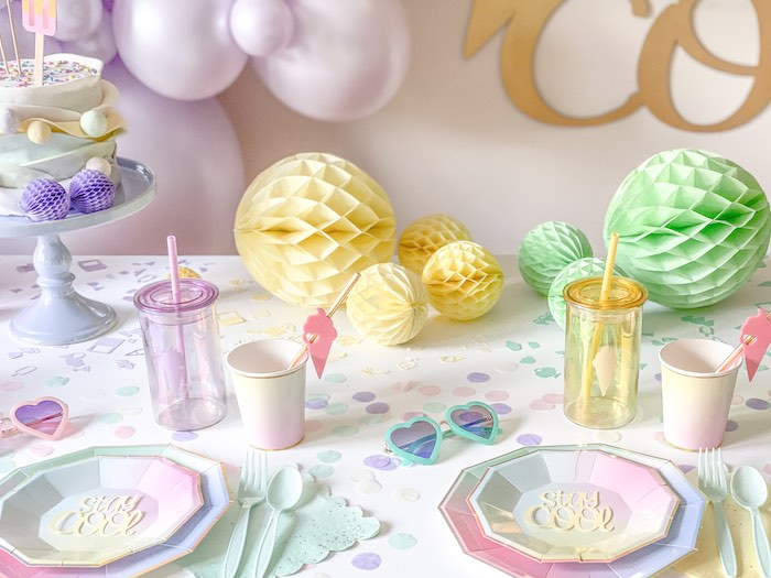 Ice Cream Themed Guest Table from a Pastel Ice Cream Party on Kara's Party Ideas | KarasPartyIdeas.com (13)