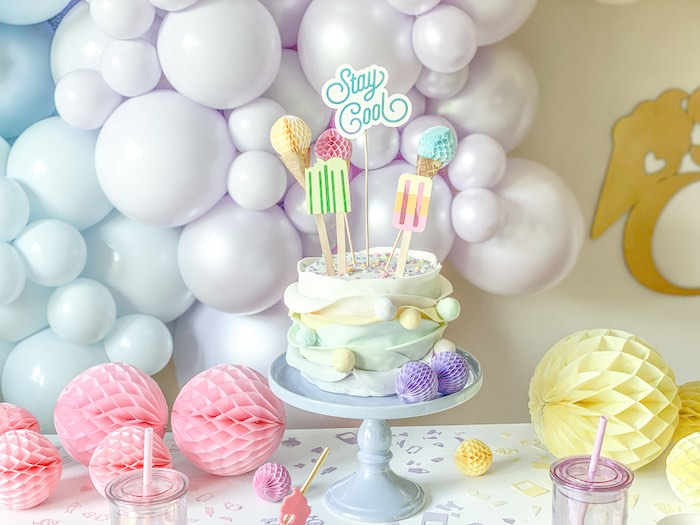 Ice Cream-inspired Cake from a Pastel Ice Cream Party on Kara's Party Ideas | KarasPartyIdeas.com (12)