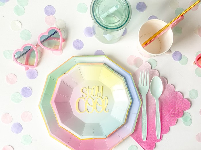 Rainbow Ombre Table Setting from a Pastel Ice Cream Party on Kara's Party Ideas | KarasPartyIdeas.com (10)