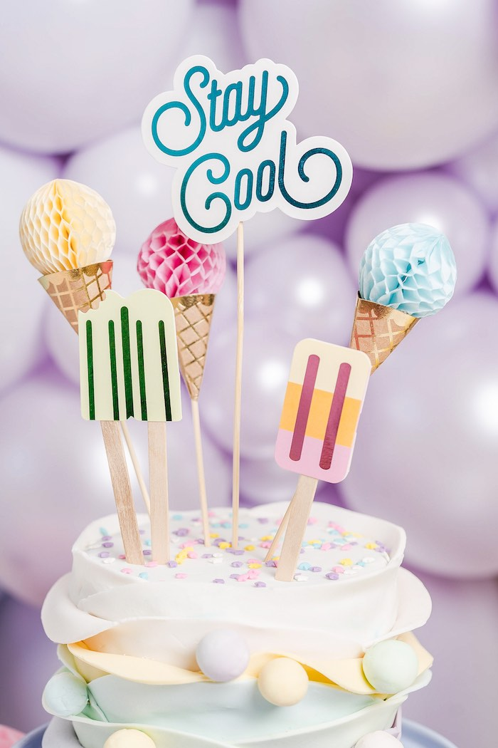 Stay Cool Ice Cream Cake Top from a Pastel Ice Cream Party on Kara's Party Ideas | KarasPartyIdeas.com (40)