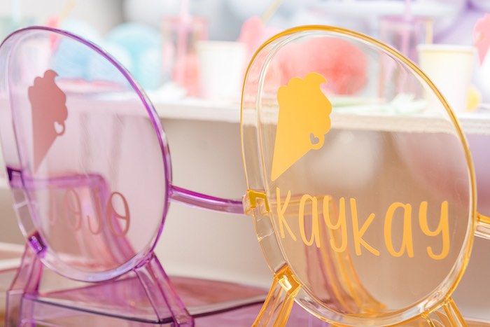 Personalized Rainbow Ghost Chairs from a Pastel Ice Cream Party on Kara's Party Ideas | KarasPartyIdeas.com (35)