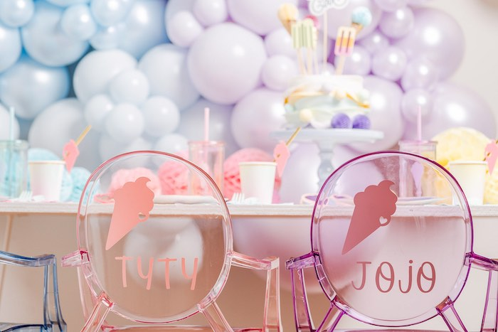 Personalized Rainbow Ghost Chairs from a Pastel Ice Cream Party on Kara's Party Ideas | KarasPartyIdeas.com (34)