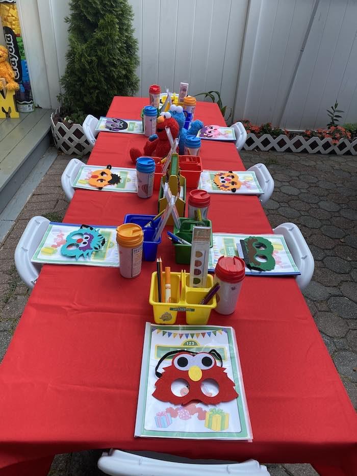 Sesame Street Kid Table from a Sesame Street Birthday Party on Kara's Party Ideas | KarasPartyIdeas.com (22)