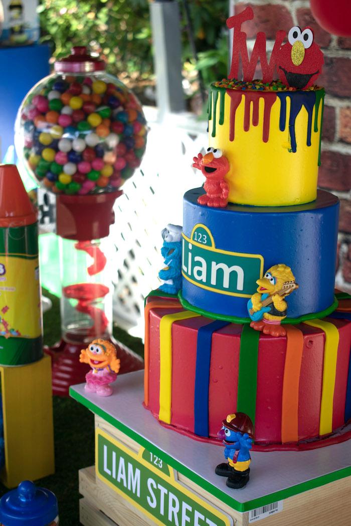 Sesame Street Birthday Cake from a Sesame Street Birthday Party on Kara's Party Ideas | KarasPartyIdeas.com (12)