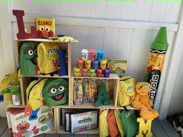 Sesame Street-inspired Crate Favor Shelf from a Sesame Street Birthday Party on Kara's Party Ideas | KarasPartyIdeas.com (30)