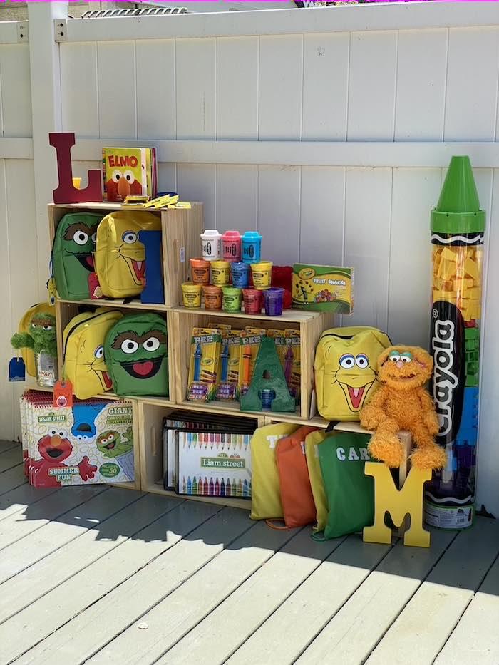 Sesame Street-inspired Crate Favor Shelf from a Sesame Street Birthday Party on Kara's Party Ideas | KarasPartyIdeas.com (29)