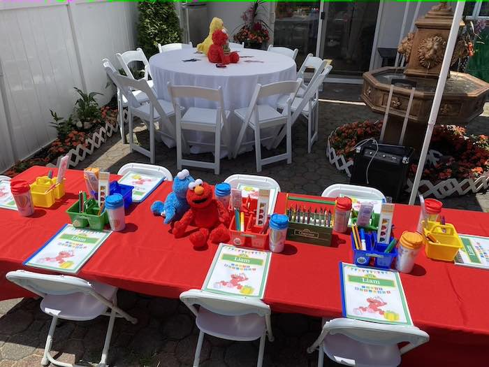 Sesame Street Kid Table from a Sesame Street Birthday Party on Kara's Party Ideas | KarasPartyIdeas.com (26)