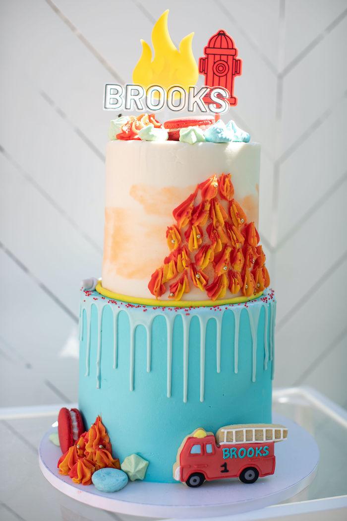 Fireman-inspired Birthday Cake from a Sound the Alarm Firetruck 1st Birthday on Kara's Party Ideas | KarasPartyIdeas.com (18)