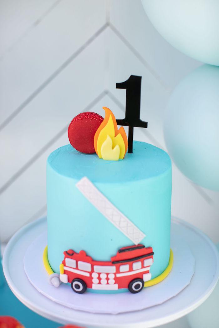 Fireman-inspired Birthday Cake from a Sound the Alarm Firetruck 1st Birthday on Kara's Party Ideas | KarasPartyIdeas.com (17)