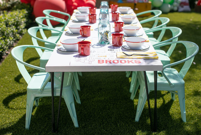 Fireman-inspired Guest Table from a Sound the Alarm Firetruck 1st Birthday on Kara's Party Ideas | KarasPartyIdeas.com (31)
