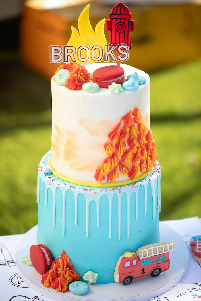 Fireman-inspired Birthday Cake from a Sound the Alarm Firetruck 1st Birthday on Kara's Party Ideas | KarasPartyIdeas.com (6)