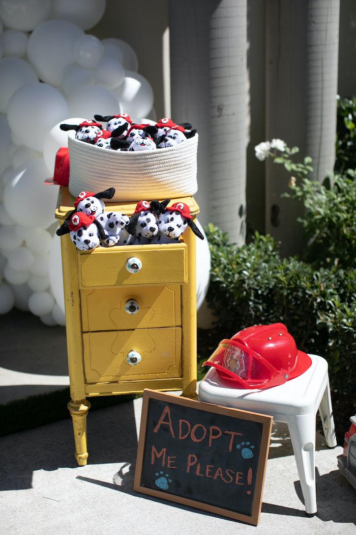 Plush Dalmatian Favors from a Sound the Alarm Firetruck 1st Birthday on Kara's Party Ideas | KarasPartyIdeas.com (30)