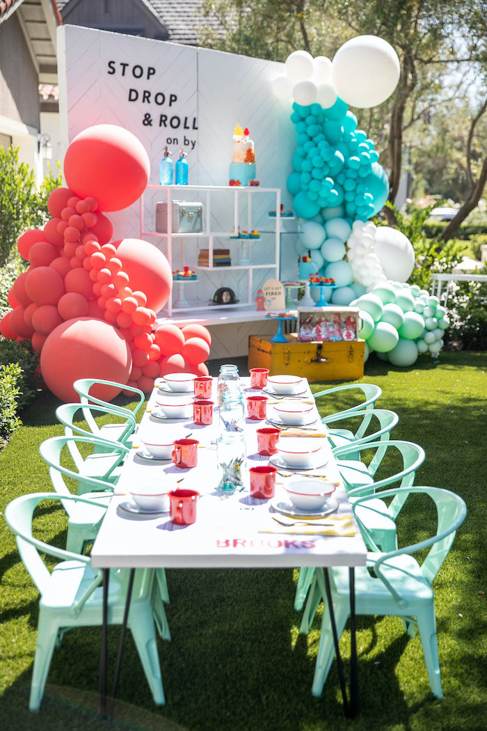 Fireman-inspired Guest Table from a Sound the Alarm Firetruck 1st Birthday on Kara's Party Ideas | KarasPartyIdeas.com (29)
